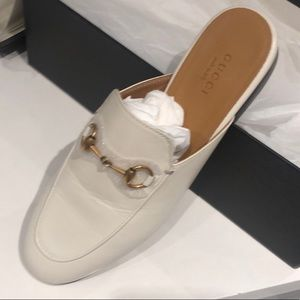 Brand new leather Gucci slides, off white.